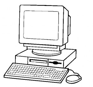 Computer with desk under display